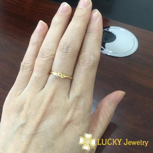 Nhẫn vàng 18K bát Diệp (8 lá) may mắn LJGU17