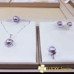Bộ trang sức Ngọc Trai vàng Trắng LJ511