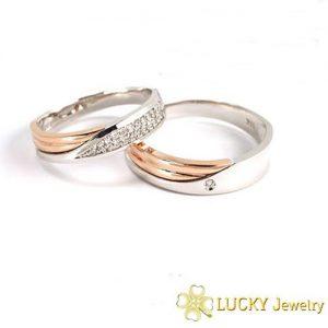 Nhẫn cưới vàng 14K đính Kim cương Moissanite LJGM72