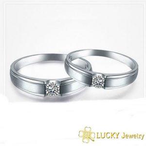 Nhẫn cưới vàng 14K đính Kim cương Moissanite LJGM64