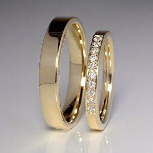 Nhẫn cưới vàng 14K đính Kim cương Moissanite LJGM86