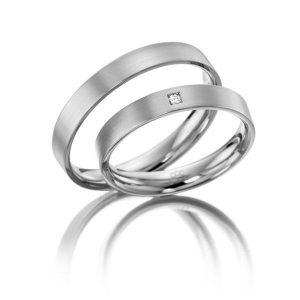 Nhẫn cưới vàng 14K đính Kim cương Moissanite LJGM80