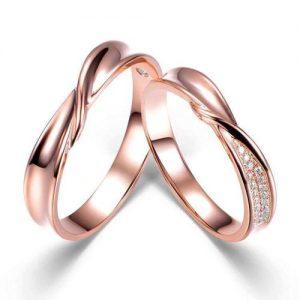 Nhẫn cưới vàng 14K đính Kim cương Moissanite LJGM68