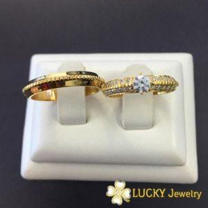 Nhẫn cưới vàng 18K đính Kim cương Moissanite LJGUM70