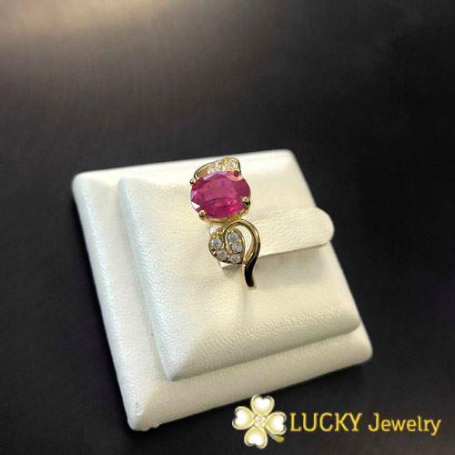 Nhẫn vàng 14K đính đá Ruby LJGR50
