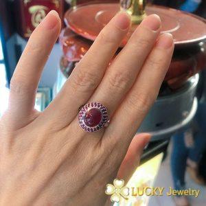 Nhẫn bạc cao cấp đính đá Ruby LJSR46