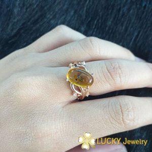 Nhẫn nữ vàng 18K đính Đá Hổ Phách