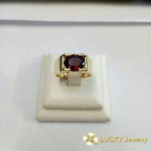 Nhẫn vàng 18K đính đá Garnet LJGG22
