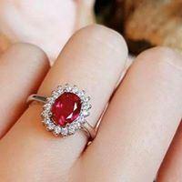 Nhẫn bạc cao cấp đính đá Ruby LJSR01
