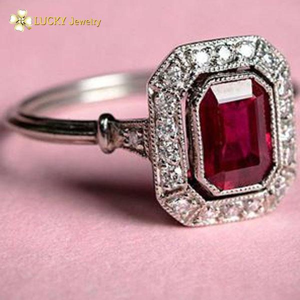 Nhẫn bạc cao cấp đính đá Ruby LJSR02
