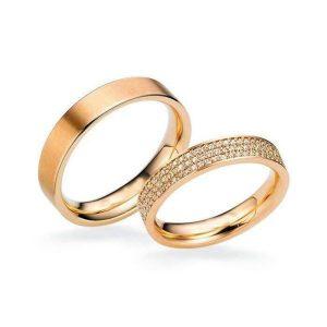Nhẫn cưới vàng 14K đính Kim cương Moissanite LJGM79