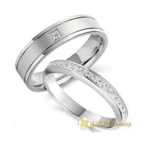 Nhẫn cưới vàng 14K đính Kim cương Moissanite LJGM81