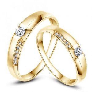 Nhẫn cưới vàng 18K đính Kim cương Moissanite LJGM71