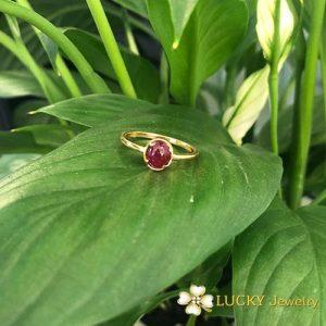 Nhẫn vàng 18K đính đá Ruby