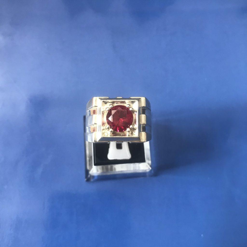 nhẫn bạc đá đỏ